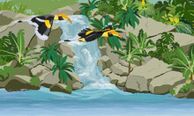 A Pair Of Great Hornbill Buceros Bicornis Fly Over A Tropical Waterfall That Flows Into A Lake. Tropical Bird Great Indian Hornbill. Jungle With Lianas, Palms And Tropical Plants. Realistic Vector