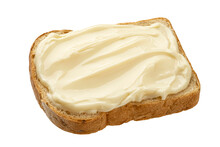 Slice Of Bread With Cream Cheese Isolated On White Background, Top View
