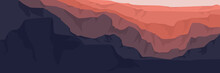 Vector Flat Design Of Sunset Over Mountain Good For Desktop Wallpaper, Web Banner,  Apps Background, Ads Banner, Tourism Banner And Background Template