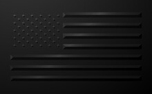 USA Flag In Black Geometric Style