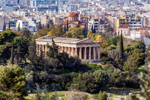 Athens, Attica, Greece. The Temple Of Hephaestus Or Hephaisteion (also Hephesteum) Is An Ancient Greek Temple Located At The Archaeological Site Of Agora Of Athens In Theseion District Under Acropolis