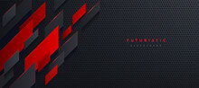 Diagonal Stripes Red And Black Color Dynamic Overlap On Metal Abstract Background With Copy Space. Modern Banner Web Template Design. Futuristic Technology Style. Vector Illustration