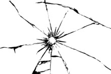 Shards Of Broken Glass From A Shot. Vector Illustration Of Cracks On A White Background.