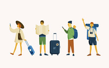 Illustration Set For Travel Concept. Four Young Pessengers With Luggage Are Ready For Summer Vacation