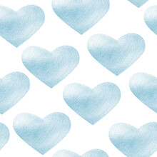 Blue Hearts With Shining Watercolor Seamless Pattern. Template For Decorating Designs And Illustrations.