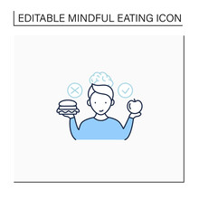 Mindful Eating Line Icon. Wiser Choices Of Products. Conscious Nutrition.Healthy Food. Improve Relationships With Food. Healthcare Concept. Isolated Vector Illustration.Editable Stroke