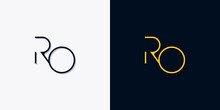 Minimalist Abstract Initial Letters RO Logo.