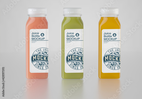 Set of 3 Juice Plastic Bottle Mockup