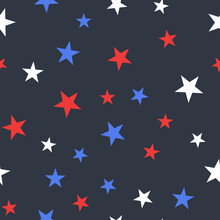 White, Red And Blue Stars With Dots Seamless Pattern