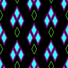 Seamless Geometric Pattern With Rhombuses On Black. Vector Repeating Ornamental Symmetrical Background. Geometric Backdrop.