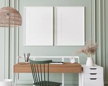 Poster Frame Mock Up In Home Office, Wooden Desk In Green Room Design, 3d Render