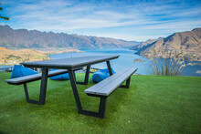 Bench Overlooking Queesntown Lake And Remarkables Mountains