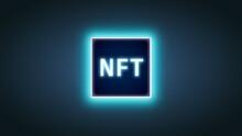 Blue Glowing NFT Chip On Gradient Background. Crypto Art Vector Illlustration. Blockchain Tech Background. Futuristic Wallpaper. Digital Art Banner. Non Fungible Token Technology Art