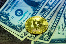 Close Up Of Top Important Cryptocurrencies Which Dollar Bank Note In Background. Which Including Of Bitcoin, Ethereum, Litecoin, Dash, Zcash And Ripple Coin. Business And Financial As Concept.