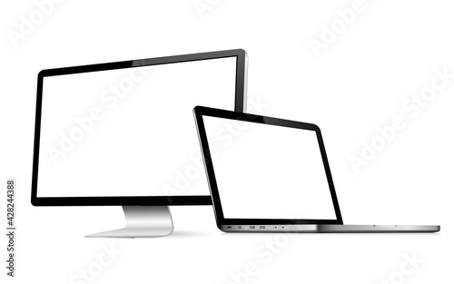 Obraz Responsive web design computer display with laptop isolated - fototapety do salonu