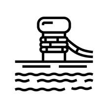 Mooring Bollard Port Line Icon Vector. Mooring Bollard Port Sign. Isolated Contour Symbol Black Illustration