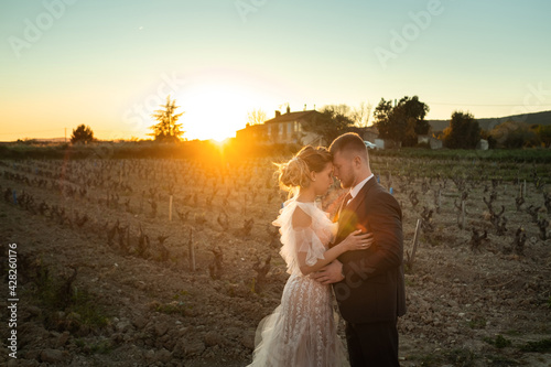 Photo Wedding couple at sunset in France