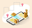 Mobile food delivery service isometric banner with 3d pizza box, map pointer, smartphone screen. Ordering, online payment, shipping concept. Vector illustration for web, ad, app, social media