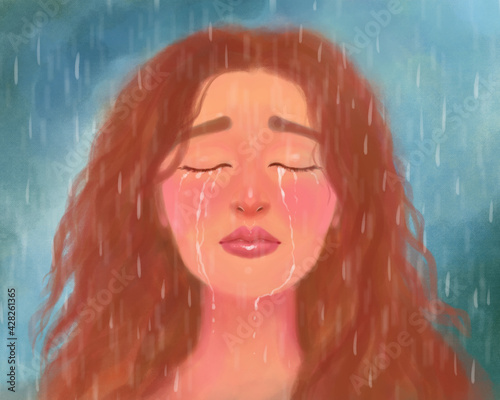 Canvas art portrait of a girl crying and suffering, with her eyes closed in the rain