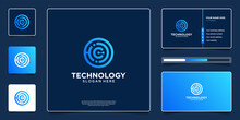 Abstract Technology Logo Design With Business Card Template
