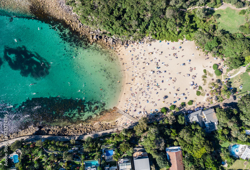 Slika na platnu Panoramic aerial bird's eye view of Shelly Beach at the southeastern end of Manly, a beachside suburb of Sydney, New South Wales, Australia