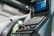 Machine Control Panel CNC. Metalworking Milling Machine. Cutting Metal Modern Processing Technology.