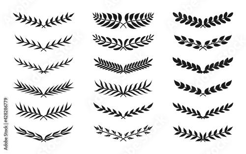Obraz na plátně Black silhouette semicircular form vintage wreath icon set