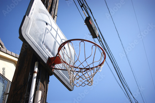 Basketball hoop on telephone pole in urban alley #428288343