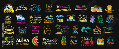 Set of summer funny and sassy labels, hand-drawn lettering, logos, badges and stickers with tropical and beach elements - fototapety na wymiar