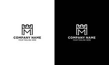 Castle Logo Design Vector. Initial M Logo Template