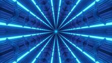 3D Rendering Of Futuristic Blue Fractal Kaleidoscopic Background