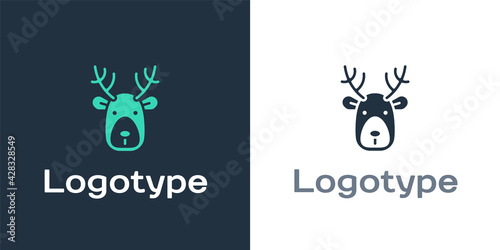 Fotografering Logotype Deer head with antlers icon isolated on white background