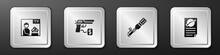 Set Advertising Weapon, Buying Gun Pistol, Anti-tank Hand Grenade And Firearms License Certificate Icon. Silver Square Button. Vector