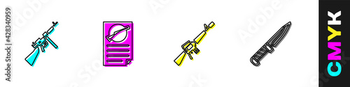 Canvas-taulu Set Tommy gun, Firearms license certificate, M16A1 rifle and Military knife icon
