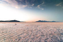 Landscape View Of The Great Salt Lake In Utah At Sunset