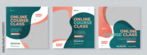 Obraz Online course class social media post template design vector - fototapety do salonu