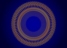 Motif Filiforme Orange Circulaire Sur Fond Bleu