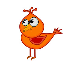 Cartoon Little Bird Isolated On White Background. Cute Small Red Bird. Design Element In Simple Flat Style. Happy Valentines Day. Love Icon. Cardinal Bird, Christmas Symbol. Stock Vector Illustration