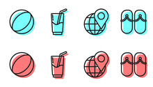 Set Line Location On The Globe, Beach Ball, Cocktail And Alcohol Drink And Flip Flops Icon. Vector