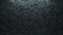 Concrete Tiles Arranged To Create A Hexagonal Wall. Semigloss, 3D Background Formed From Futuristic Blocks. 3D Render