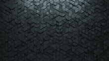 Semigloss Tiles Arranged To Create A Futuristic Wall. Concrete, Triangular Background Formed From 3D Blocks. 3D Render