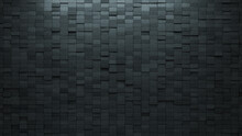Concrete, Polished Wall Background With Tiles. 3D, Tile Wallpaper With Rectangle, Futuristic Blocks. 3D Render