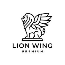Lion Wing Winged Shedu Iamassu Akkadian Shirdal Logo Vector Icon Illustration