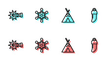 Set Line Indian Teepee Or Wigwam, Spur, Hexagram Sheriff And Tooth Icon. Vector