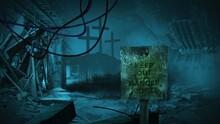 3D Illustration Of Sign Danger Zone  - Post Apocalyptic Scene