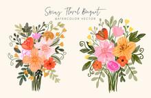 Spring Floral Bouquet Watercolor Vector Set