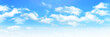 Sunny day background, blue sky with white cumulus clouds, natural summer or spring background with perfect hot day weather illustration.