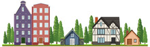 Front Of Country Houses On White Background