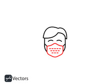 Coronavirus Users Men Group People Icon. Vector Set Line Icons Sign And Symbols In Flat Linear Design..svg
