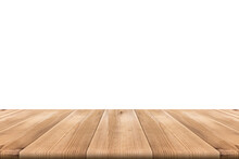 Brown Wooden Floor Perspective Angle With A Blank White Background.
